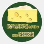 el queso va con todo pegatinas redondas