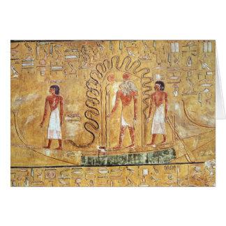 El Ra de dios del sol en su barca solar Tarjeta De Felicitación