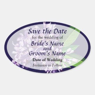 El racimo de lilas púrpuras ahorra la fecha pegatinas ovaladas