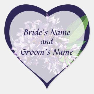 El racimo de lilas púrpuras ahorra la fecha pegatinas corazon personalizadas