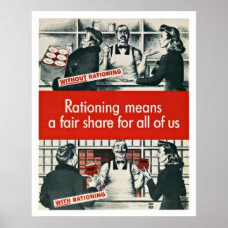 El racionar de la guerra de WWII - patriotismo del Poster