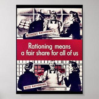 El racionar significa una parte justa para todos póster