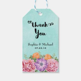 El ramo de casarse de las flores de la acuarela le etiquetas para regalos