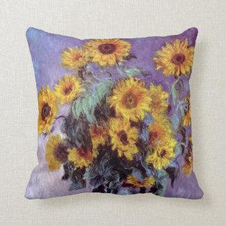 El ramo de girasoles, Monet, vintage florece arte Cojin
