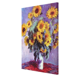 El ramo de girasoles, Monet, vintage florece arte Lona Envuelta Para Galerías