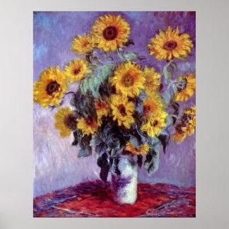 El ramo de girasoles, Monet, vintage florece arte Póster