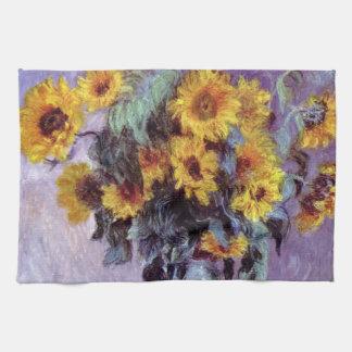 El ramo de girasoles, Monet, vintage florece arte Toalla