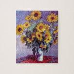 El ramo de girasoles, Monet, vintage florece arte Rompecabeza Con Fotos