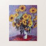 El ramo de girasoles, Monet, vintage florece arte Rompecabeza