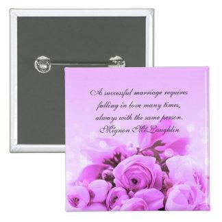El ramo de lujo de los rosas de la lavanda cita el pin cuadrado