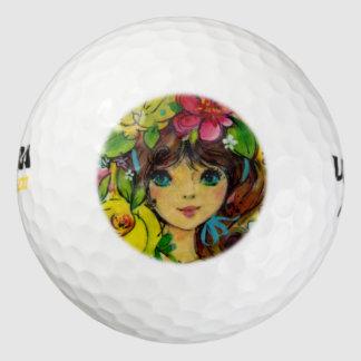 El ramo del chica del vintage florece el gorra pack de pelotas de golf