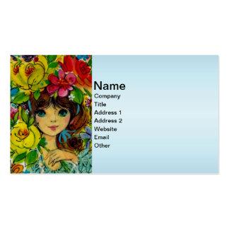 El ramo del chica del vintage florece el gorra tarjetas de visita