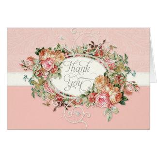 El ramo floral color de rosa antiguo del vintage l tarjeta pequeña