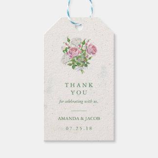 El ramo floral elegante agradece etiquetas para regalos