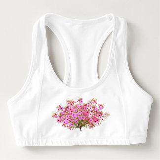 El ramo nupcial rosado florece el sujetador de los bra deportivo