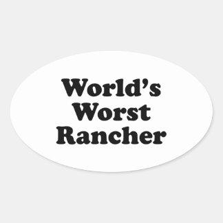 El ranchero peor del mundo pegatina ovalada