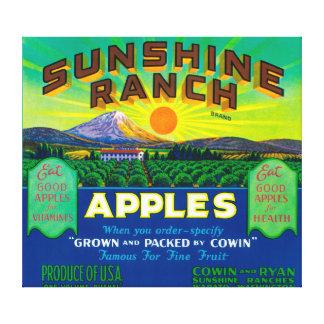 El rancho Apple de la sol etiqueta - Wapato, WA Impresion De Lienzo