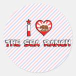 El rancho del mar, CA Etiquetas Redondas