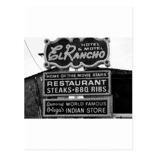 El Rancho Hotel Sign Postcard