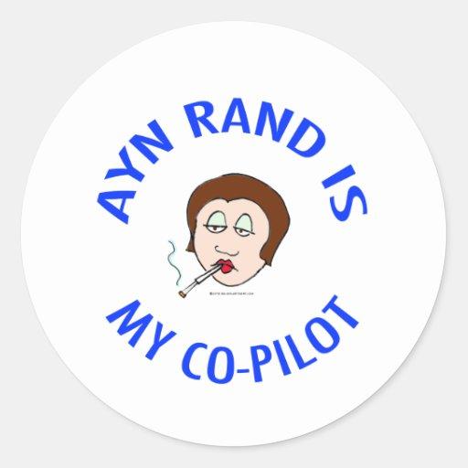el rand del ayn es mi objectivism del copiloto pegatinas redondas
