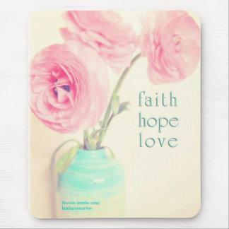el ranúnculo del amor de la esperanza de la fe flo alfombrillas de raton