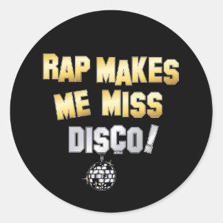 El rap me hace el disco de la falta pegatina redonda