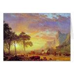 El rastro de Oregon, Albert Bierstadt Tarjeton
