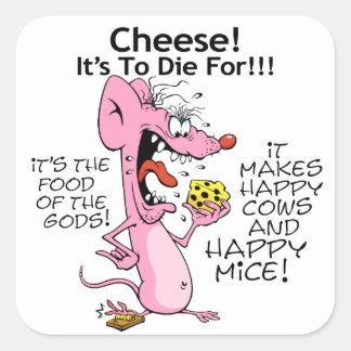 El ratón ama a los pegatinas cuadrados del queso pegatina cuadrada
