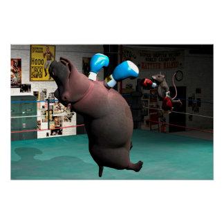 El ratón bate el hipopótamo KO Perfect Poster