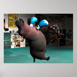 El ratón bate el hipopótamo KO Póster