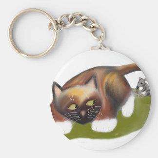 El ratón cosquillea el gatito llavero redondo tipo pin