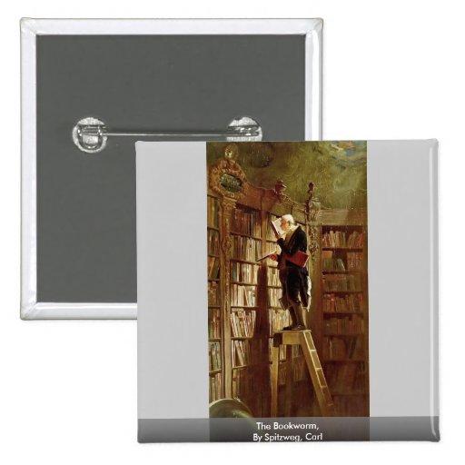 El ratón de biblioteca, por Spitzweg, Carl Pin Cuadrada 5 Cm