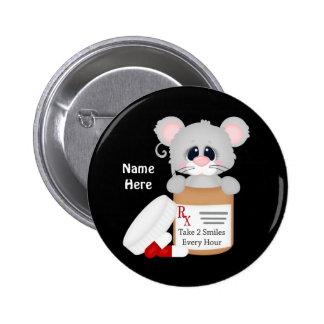 El ratón de la enfermera del dibujo animado añade pin redondo 5 cm
