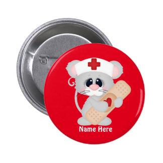 El ratón de la enfermera del dibujo animado añade pin redondo de 2 pulgadas
