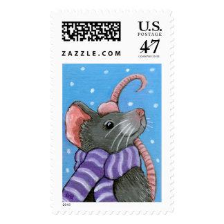 El ratón de Monty toma un franqueo del paseo del Sello Postal