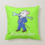 El ratón de trabajo conocido del dibujo animado de almohadas