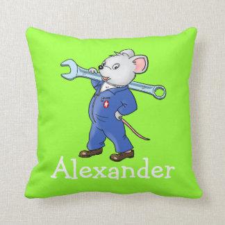 El ratón de trabajo conocido del dibujo animado de cojín decorativo