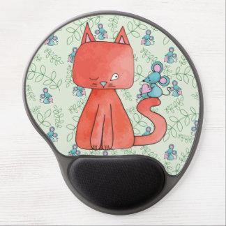 El ratón lindo ama el gato del gatito alfombrillas de raton con gel