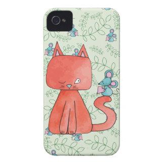 El ratón lindo ama el gato del gatito Case-Mate iPhone 4 fundas