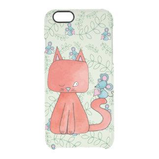 El ratón lindo ama el gato del gatito funda clearly™ deflector para iPhone 6 de uncommon
