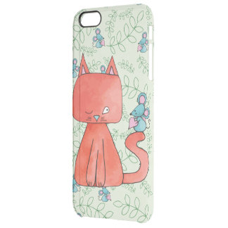 El ratón lindo ama el gato del gatito funda clearly™ deflector para iPhone 6 plus de unc