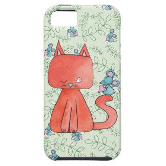 El ratón lindo ama el gato del gatito funda para iPhone 5 tough
