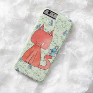 El ratón lindo ama el gato del gatito funda para iPhone 6 barely there