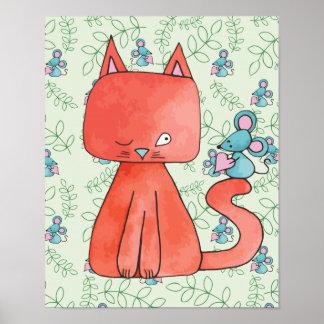 El ratón lindo ama el gato del gatito póster