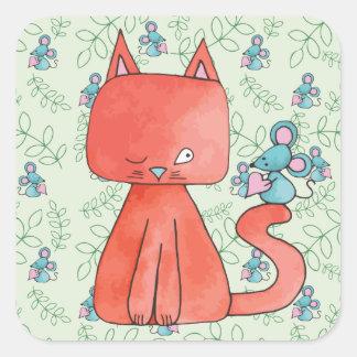 El ratón lindo ama el gato del gatito pegatina cuadrada