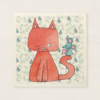 El ratón lindo ama el gato del gatito servilletas de papel