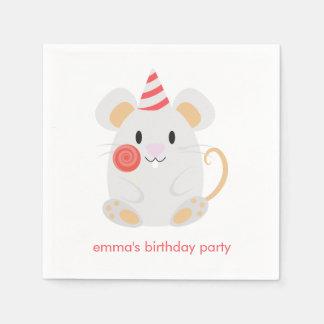 El ratón lindo embroma cumpleaños servilletas desechables