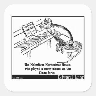 El ratón meritorio melodioso pegatina cuadrada