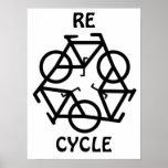 El RE CICLO recicla símbolo de la bicicleta Impresiones