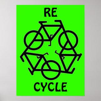 El RE CICLO recicla símbolo de la bicicleta Póster